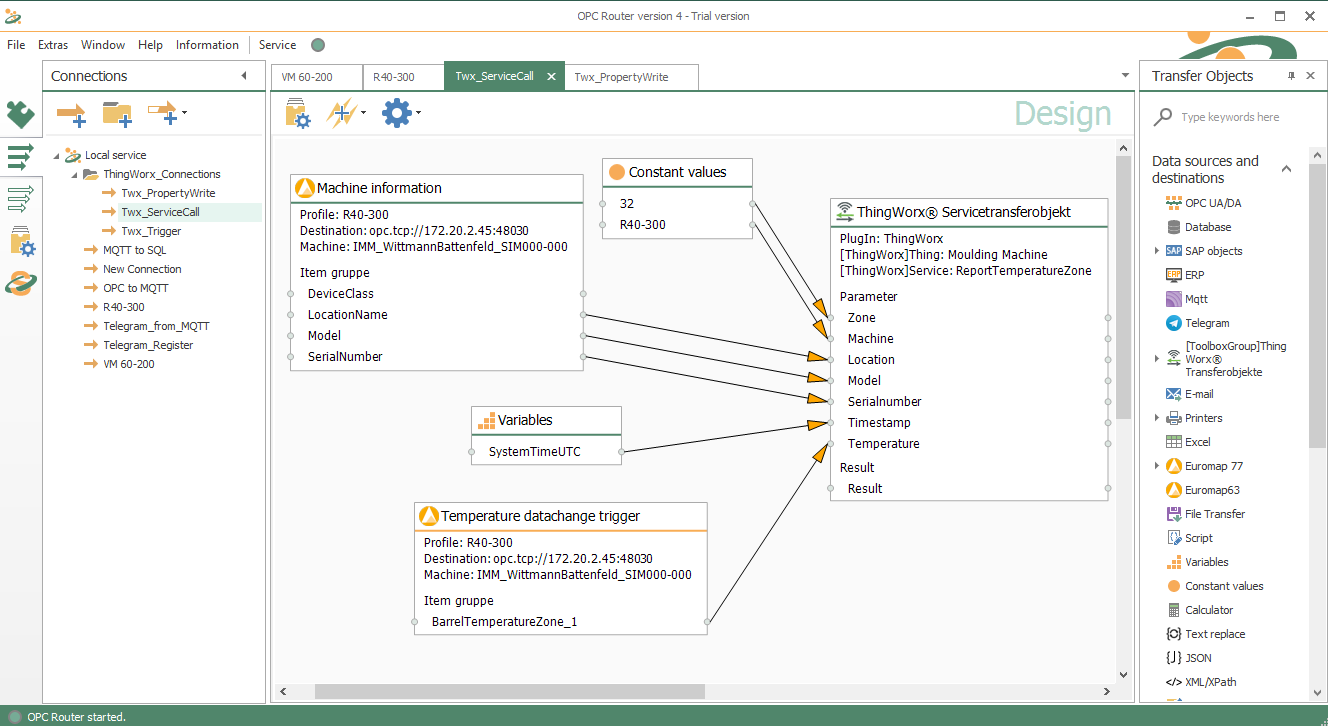 Call of a service in the ThingWorx system with transfer of various parameters. Here: Euromap 77 Data