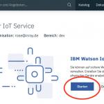 IBM IoT Watson Ressource starten