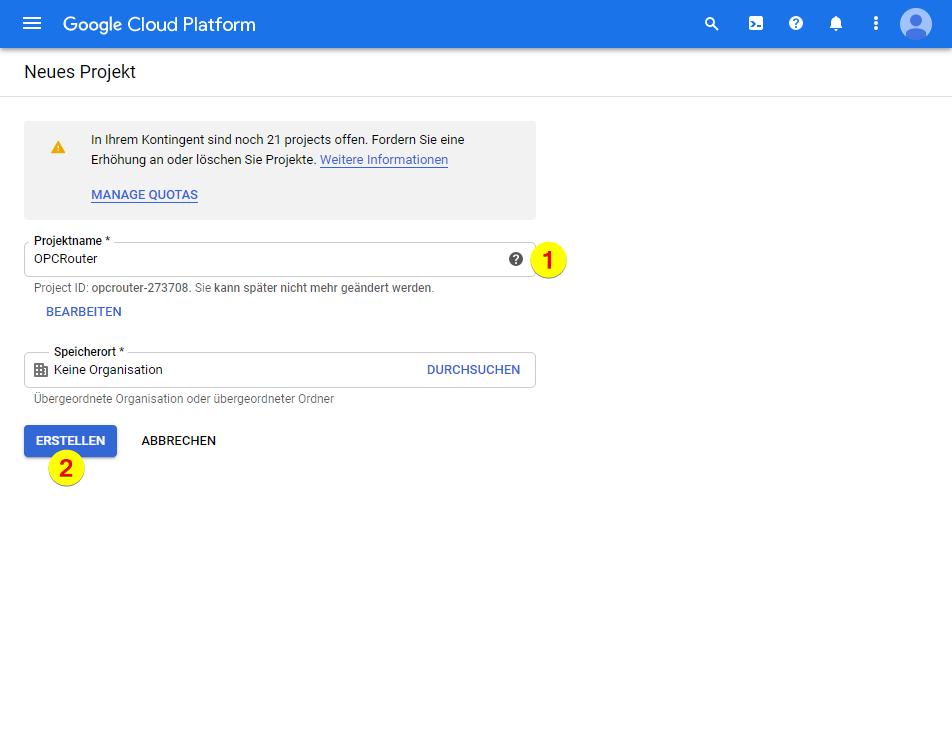 Google Cloud Platform – Projektname