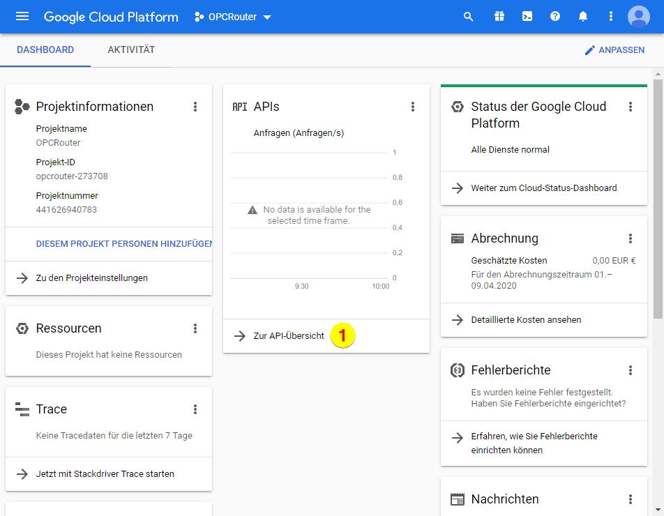 Google Cloud Platform – API-Übersicht