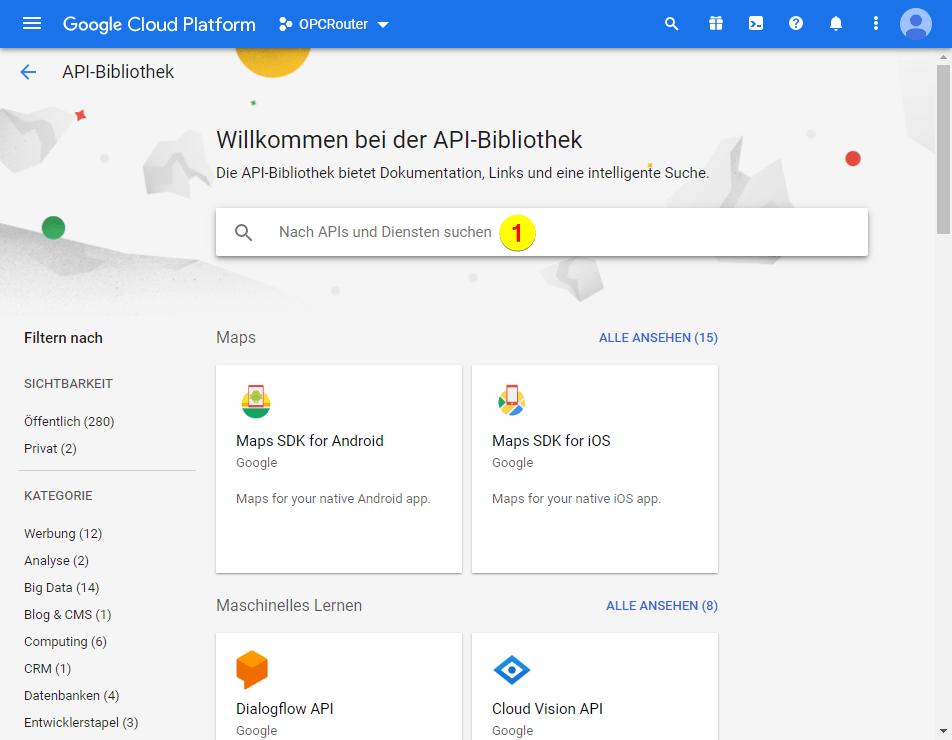 Google Cloud Platform – API-Bibliothek