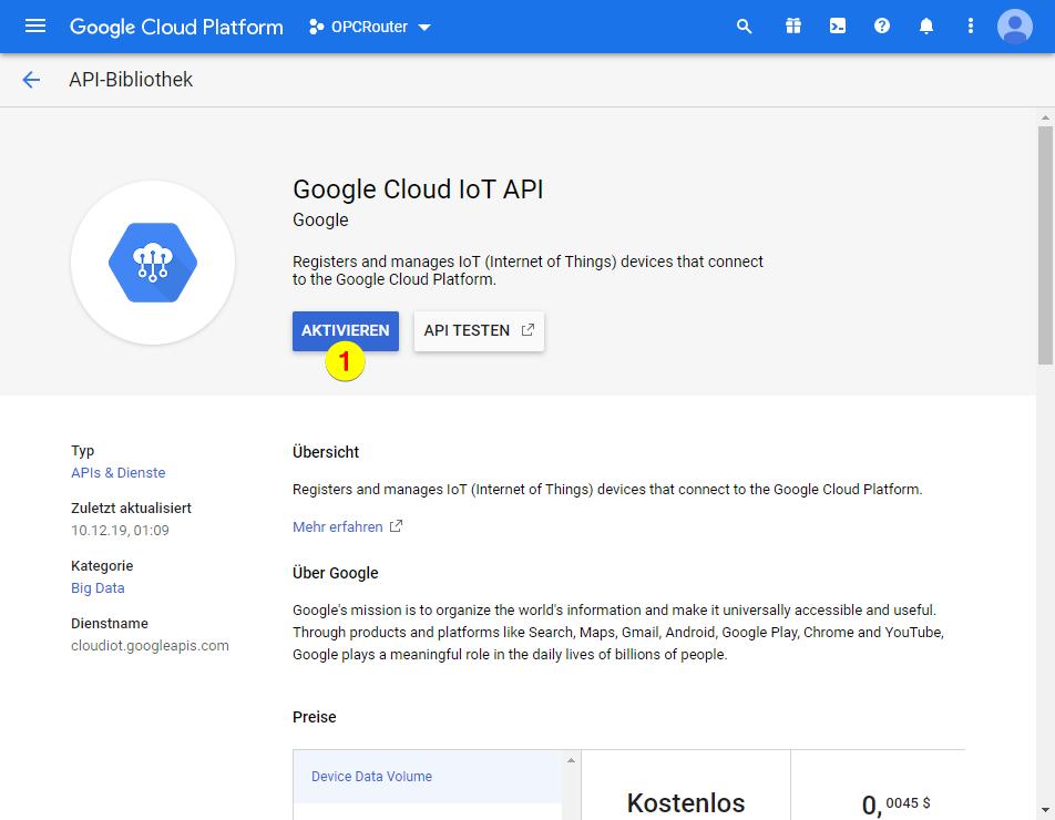 Google Cloud Platform – Google Cloud IoT API aktivieren