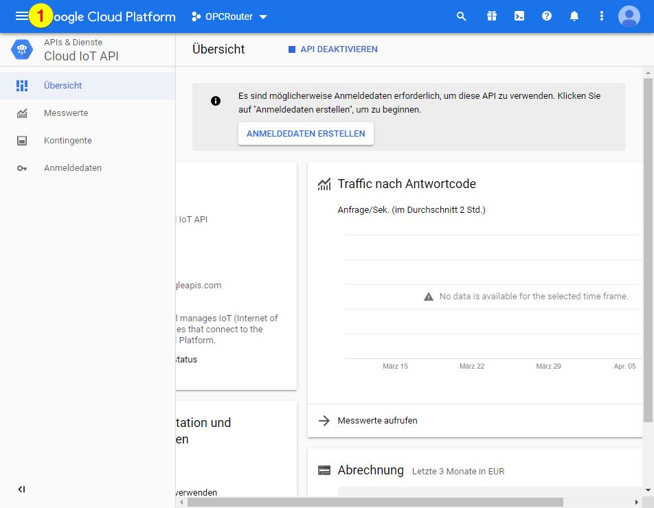 Google Cloud Platform – Menü öffnen