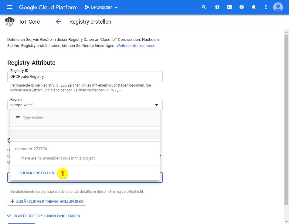 Google Cloud Platform – Thema erstellen
