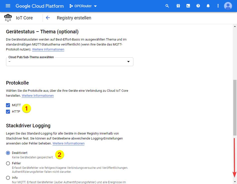 Google Cloud Platform – MQTT und HTTP