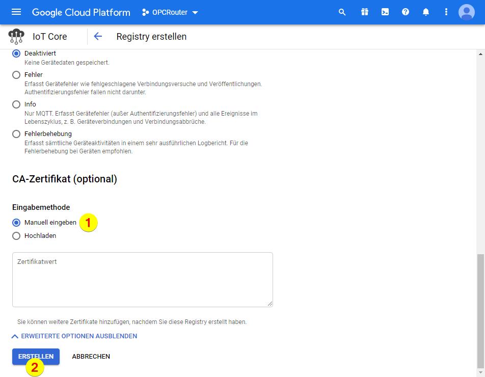 Google Cloud Platform – CA-Zertifikat