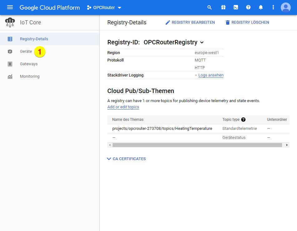 Google Cloud Platform – Geräte