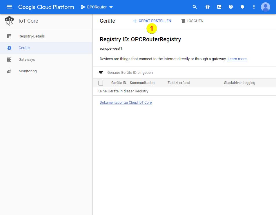 Google Cloud Platform – Gerät erstellen