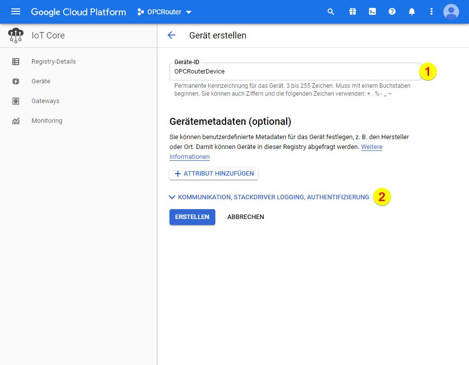 Google Cloud Platform – Geräte ID
