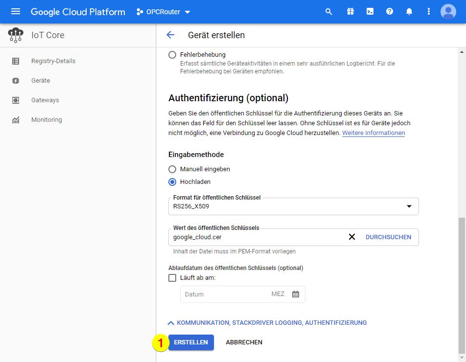 Google Cloud Platform – Authentifizierung erstellen