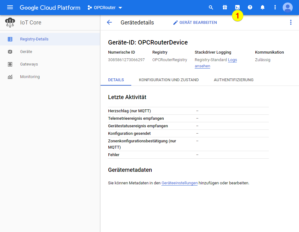 Google Cloud Platform – Shell öffnen