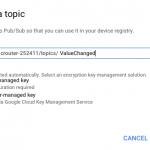 Google Cloud IoT Create Topic