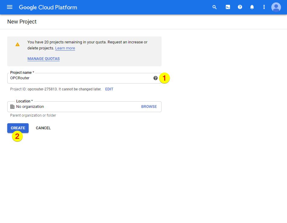 Google Cloud Platform – Project Name