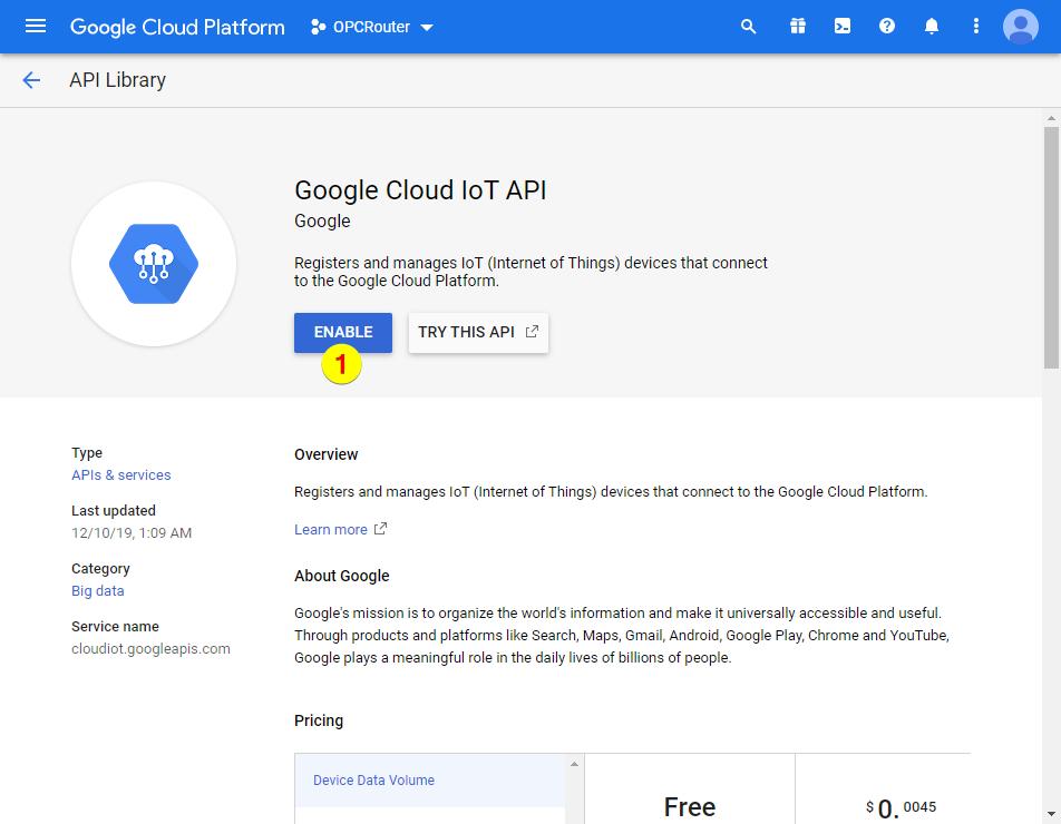 Google Cloud Platform – Google Cloud IoT API enable