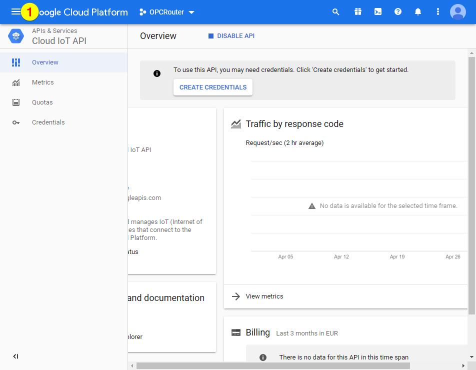 Google Cloud Platform – open menu