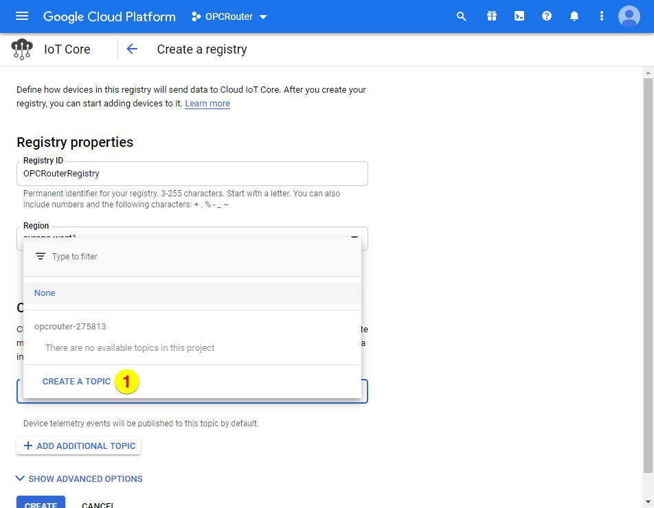 Google Cloud Platform – Create a topic