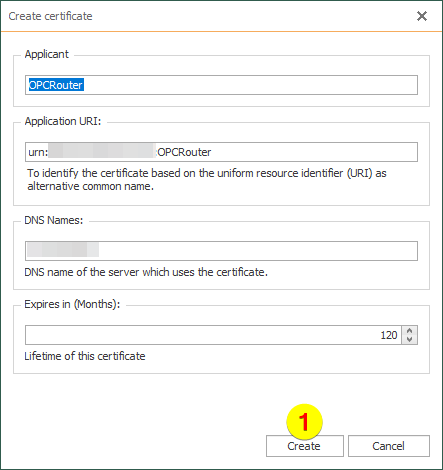 OPC Router – create a certificate