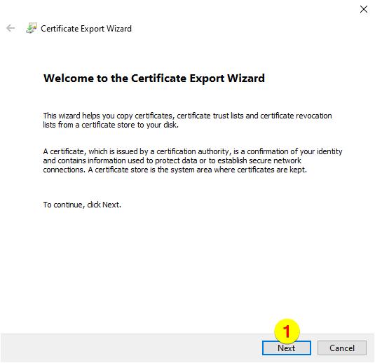 Certificate Export Wizard – Click next