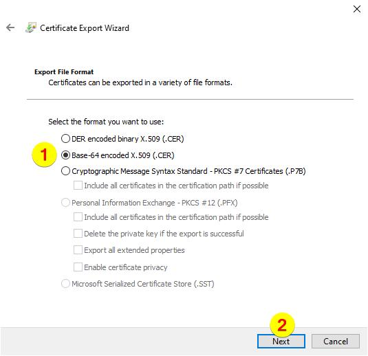 Certificate Export Wizard – Format selection