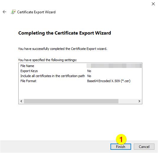 Certificate Export Wizard – Finish