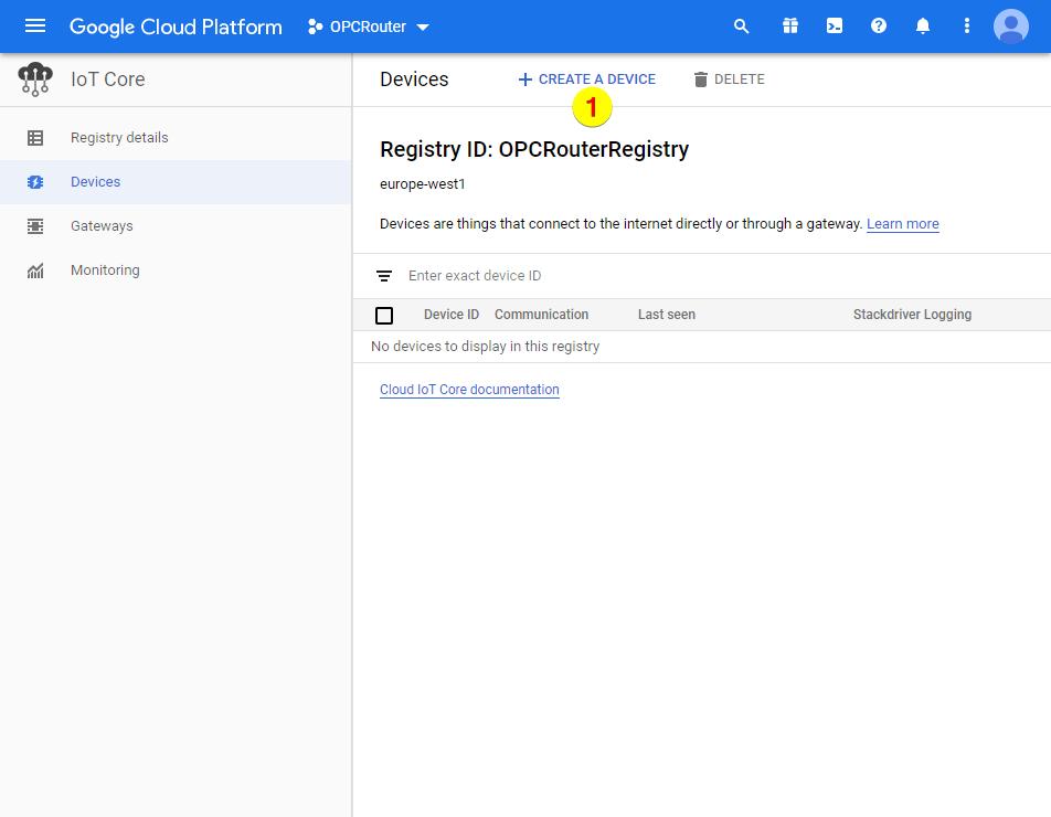 Google Cloud Platform – Create a device
