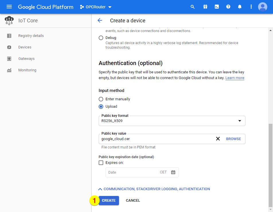 Google Cloud Platform – Create Authentication