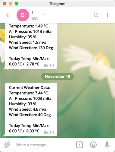 Telegram client with messages from OPC Router and formatted weather data as text message