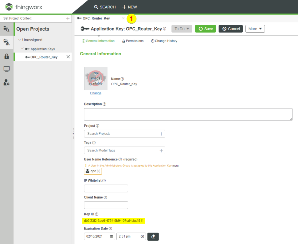 Application Key OPC Router Thingworx