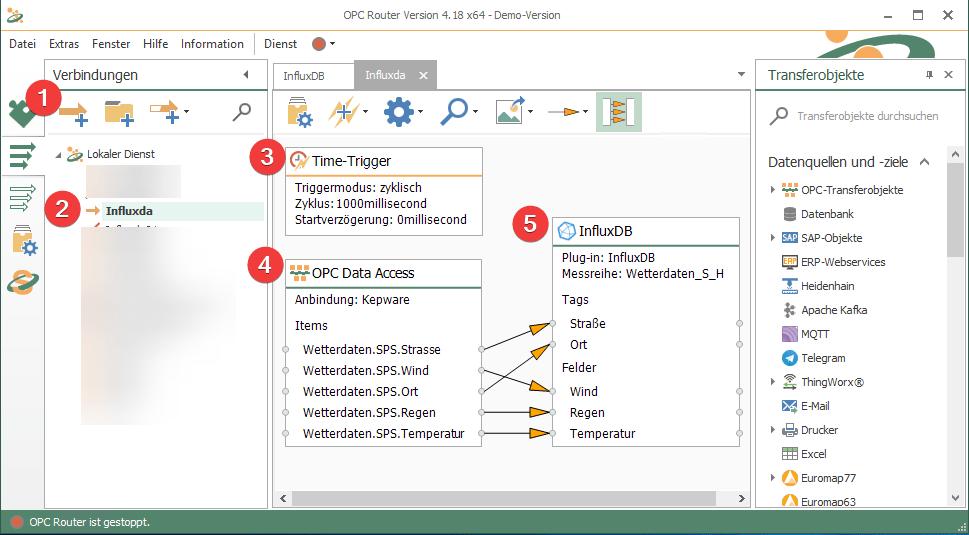 Im OPC Router eine InfluxDB Verbindung anlegen